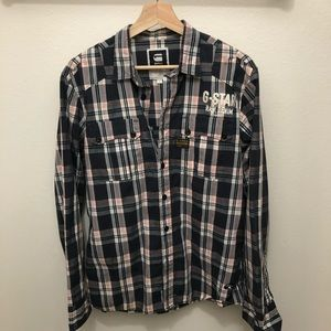 G-Star Mens Plaid Shirt Size L
